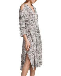 AllSaints - Lavete Paisley Cold Shoulder Midi Dress - Lyst