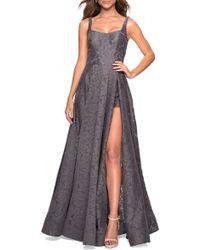 La Femme - Front Slit Lace Evening Dress - Lyst
