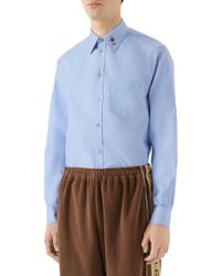 32b997cfe Gucci Macro Horsebit Print Shirt in Red for Men - Lyst