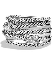 David Yurman - Double 'x Crossover' Ring With Diamonds - Lyst