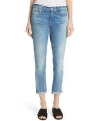FRAME - Le Garcon Crop Slim Boyfriend Jeans - Lyst