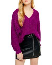 TOPSHOP Oversize V-neck Sweater - Purple