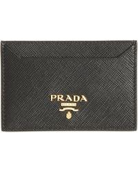 Prada Saffiano Leather Card Case - Black
