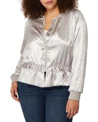 REBEL WILSON X ANGELS Peplum Hem Satin Bomber Jacket - Multicolor