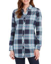 Foxcroft - Faith Fall Tartan Plaid Cotton Blend Shirt - Lyst
