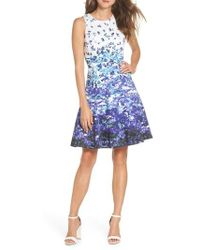 Maggy London - Floral Sateen Fit & Flare Dress - Lyst