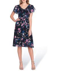 Tahari - Flutter Sleeve Floral Print Fit & Flare Dress - Lyst