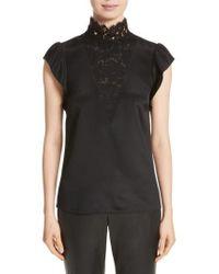 St. John | Lace Trim Stretch Silk Crepe De Chine Top | Lyst