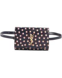 Saint Laurent Kate Star Print Calfskin Leather Belt Bag - - Black