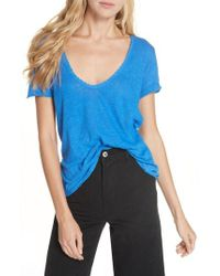 Free People - Saturday Lace Trim Linen Blend Tee - Lyst