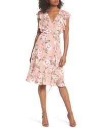 Charles Henry - Flutter Sleeve Wrap Dress - Lyst