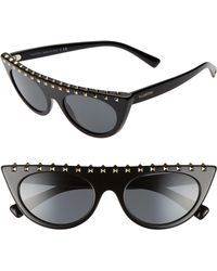 604f0e82dc0 Lyst - Valentino Rockstud Camouflage Square Oversized Sunglasses in ...