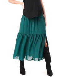 Loyal Hana Jessie Smock Layered Ruffle Maternity Maxi Skirt - Green