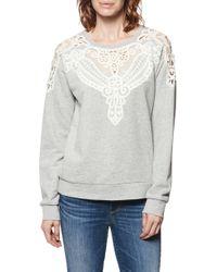 PAIGE - Eilise Crochet Detail Sweatshirt - Lyst