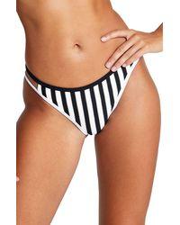 River Island High Leg Stripe Bikini Bottoms - Black