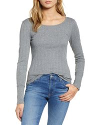 Hinge - Pointelle Knit Button Cuff Top - Lyst
