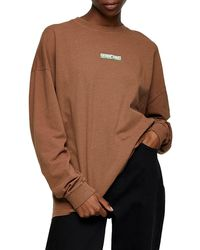 TOPSHOP Searching Long Sleeve Skater Graphic Tee - Brown