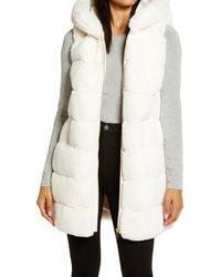 Via Spiga Grooved Faux Fur Hooded Vest - White