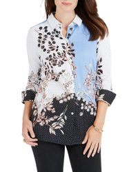 Foxcroft - Libby Flowing Florals Dot Shirt - Lyst