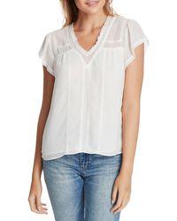 1.STATE Lace-trim V-neck Top - White