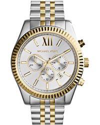 Michael Kors Large Lexington Chronograph Bracelet Watch - Metallic