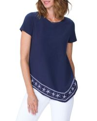 NYDJ - Embroidered Handkerchief Cotton Blend Top - Lyst