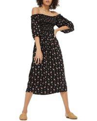 TOPSHOP - Shirred Bell Sleeve Midi Dress - Lyst