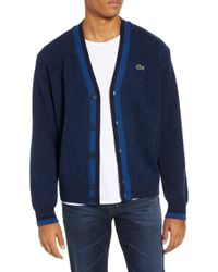 Lacoste Men's Buttoned Logo Wool Cardigan - Ink - Blue