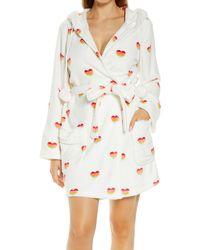 Pj Salvage Short Plush Hooded Robe - White