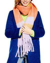 TOPSHOP Heavy Stripe Knit Scarf - Blue