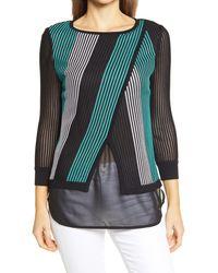 Ming Wang Stripe Overlay Chiffon Tunic - Multicolor
