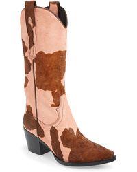 Jeffrey Campbell Dagget Genuine Calf Hair Western Boot - Brown