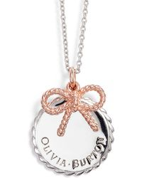 Olivia Burton - Coin & Bow Pendant Necklace - Lyst