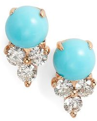 EF Collection - Diamond Trio Stone Stud Earrings - Lyst