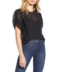 Chelsea28 Ruched Sleeve Swiss Dot Top - Black
