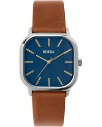 Breda - Visser Square Leather Strap Watch - Lyst