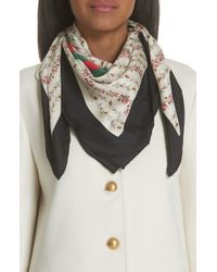 Gucci - Vintage Rose Foulard Silk Scarf - Lyst
