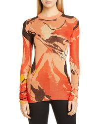 Proenza Schouler Marocaine Silk Jacquard Sweater - Orange