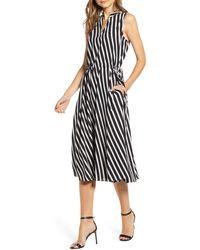 Anne Klein Plus Size Striped Cinched-waist Dress - Black