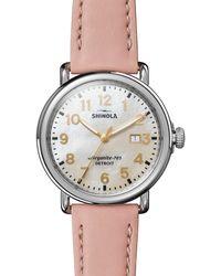 Shinola Runwell Leather Strap Watch - Metallic