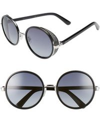 Jimmy Choo | Andiens 54mm Round Sunglasses - Palladium/ Black | Lyst