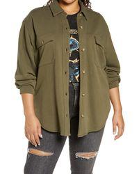 Treasure & Bond Knit Shirt Jacket - Green