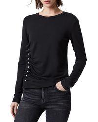 AllSaints - Hatti Side Snap Long Sleeve T-shirt - Lyst