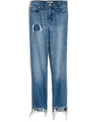 Madewell - Step Hem Classic Straight Jeans - Lyst