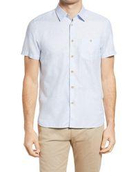 Ted Baker - Civiche Linen & Cotton Button-up Shirt - Lyst