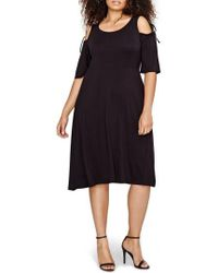 Michel Studio Shoulder Tie Fit & Flare Dress - Black
