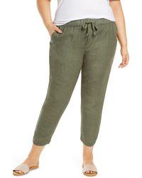 Caslon Caslon Track Style Linen Pants - Green