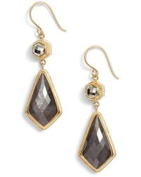 Anna Beck | Grey Sapphire & Pyrite Double Drop Earrings | Lyst