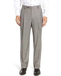 Berle - Pleated Classic Fit Stretch Houndstooth Wool Dress Pants - Lyst