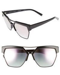 Kendall + Kylie - 55mm Retro Sunglasses - Shiny Black/ Matte Black - Lyst